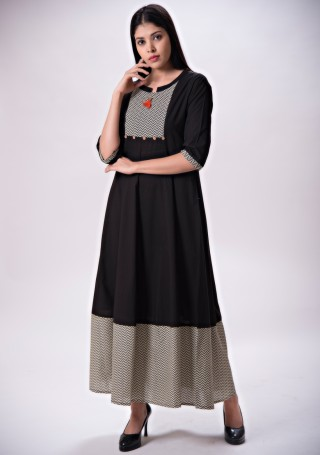 Black Long Flared Maxi Dress