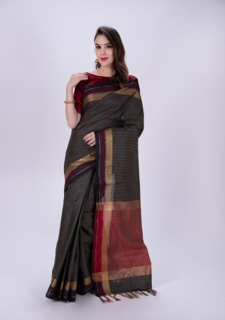Black and Maroon Art Silk Saree