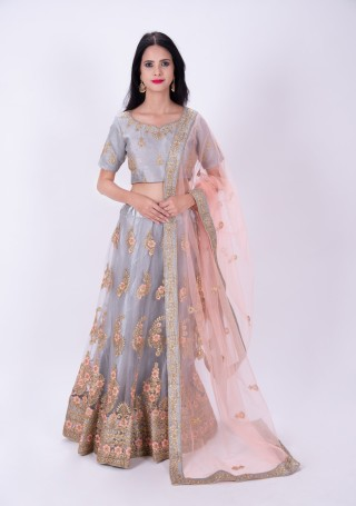 Grey Embroidered Flared Lehenga