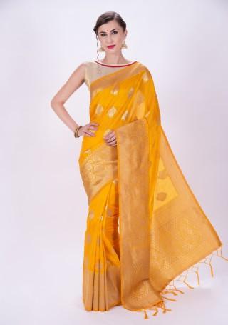 Bright Yellow Banarasi Woven Design Saree