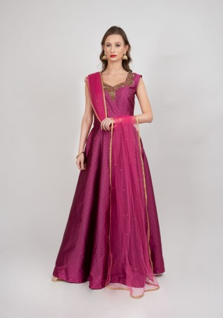 Dusty Pink Flared Gown with Dupatta