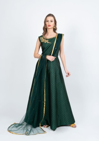 Dark Green Flared Gown with Dupatta