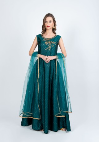 Blue Green Flared Gown with Dupatta