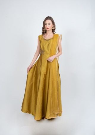Mustard Flared Gown with Dupatta