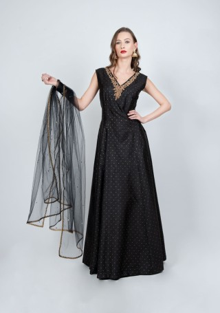 Black Flared Gown with Dupatta