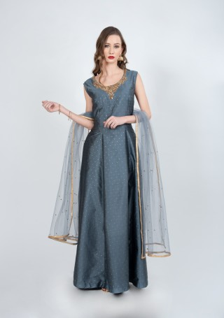 Grey Color Flared Gown with Dupatta
