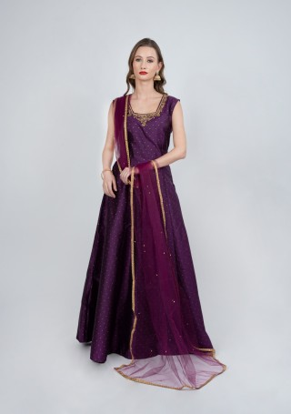 Purple Color Flared Gown with Dupatta
