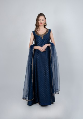 Navy Blue Flared Gown with Dupatta