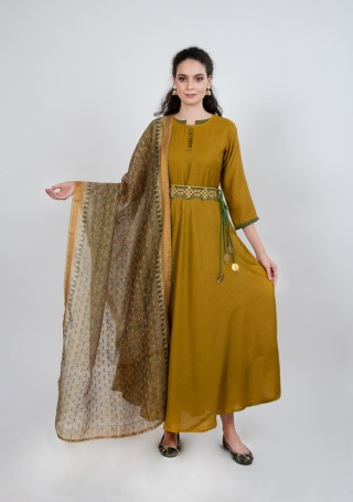 Handcrafted Silk Gown with Dupatta