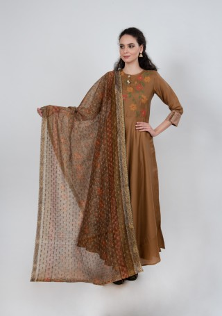 Golden Brown Tussar Silk Gown with Dupatta