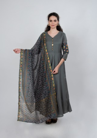 Tussar Silk Grey Gown with Dupatta