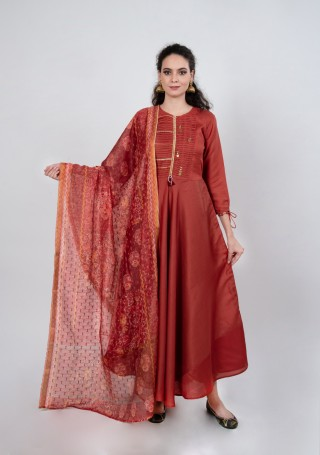 Scarlet Red Tussar Silk Gown with Dupatta