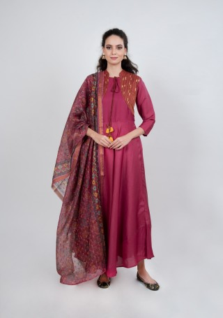 Pinkish-Purple Tussar Silk Gown with Dupatta