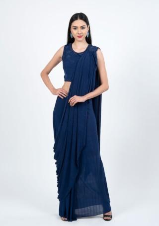 Ready Made Blue Saree Image 1