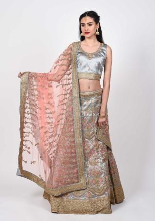 Designer Taffeta Silk Shimmer Lehenga with Blouse and Dupatta
