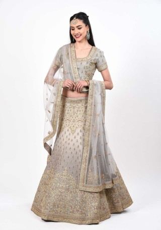 Grey Ombre Shimmer Handcrafted Lehenga Set
