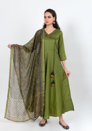Handcrafted Green Silk Gown with Dupatta