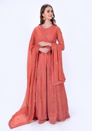 Coral Color Embroidered Gown