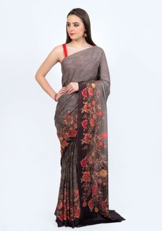 Designer Digital Printed Grey and Black Georgette Saree