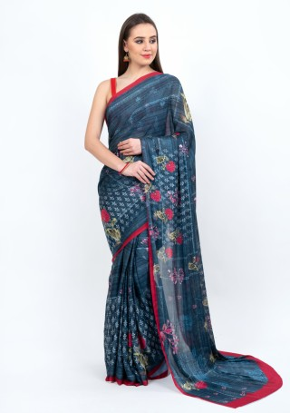 Exquisite Floral Digital Multi-Colour Printed Blue Georgette Saree