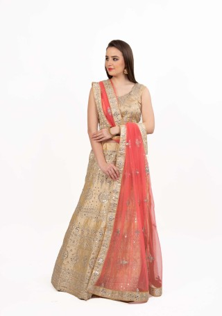 Beige Satin Embroidered Lehenga with Foil Mirror Work