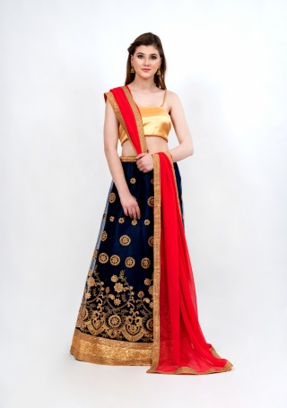 Gorgeous Navy Blue Partywear Tulle Lehenga Set