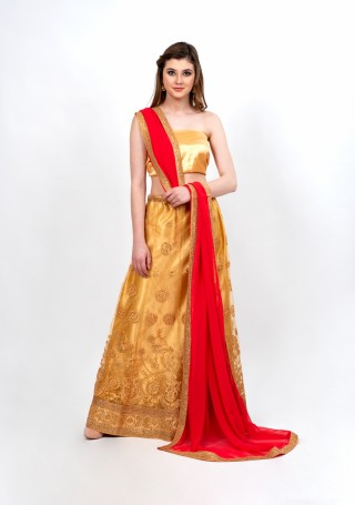 Gorgeous Golden Partywear Tulle Lehenga Set