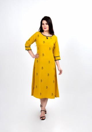 Charming Yellow Printed Daily Wear Dress