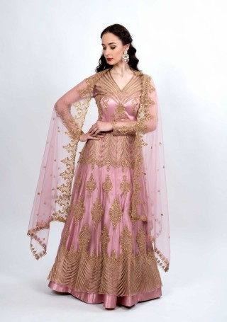 Lilac Pink Embroidered Party Wear Set