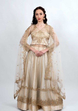 Cream Embroidered Multi Functional Outfit