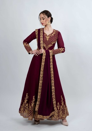 Wine Embroidered Fit & Flared Georgette Anarkali Suit Set