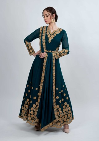 Peacock Blue Embroidered Fit & Flared Georgette Anarkali Suit Set