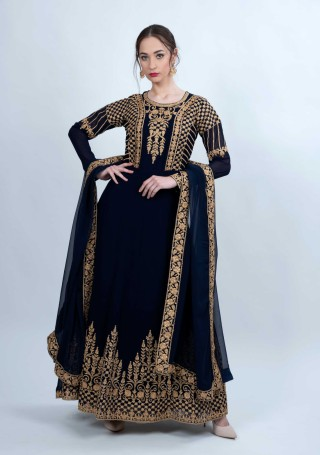 Navy Blue Embroidered Fit & Flared Georgette Anarkali Suit Set