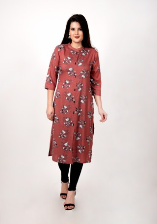 Rose Wood Floral Printed Straight Kurta
