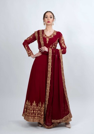 Maroon Embroidered Fit & Flared Georgette Anarkali Suit Set