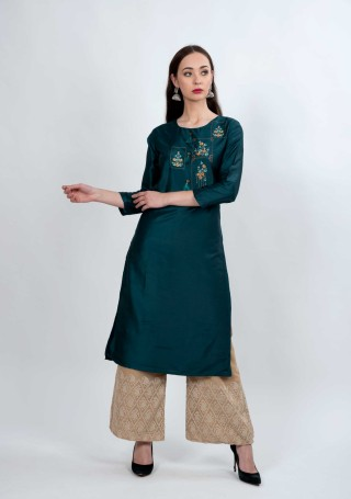 Peacock Blue and Beige Muga Silk Embroidered Kurta Palazzo Set