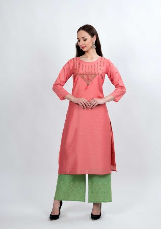 Coral and Sage Green Muga Silk Embroidered Kurta Palazzo Set