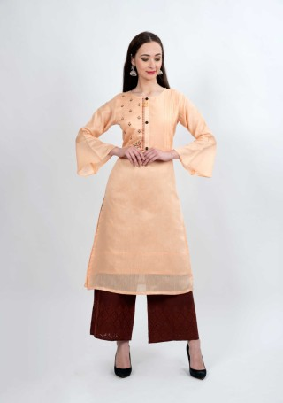 Peach and Brown Muga Silk Embroidered Kurta Palazzo Set