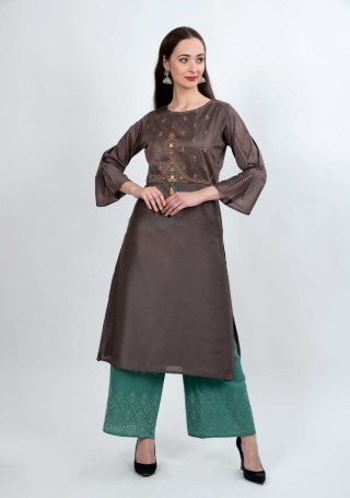 Dark Mauve Grey and Teal Muga Silk Embroidered Kurta Palazzo Set