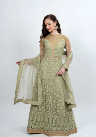 Pale Olive Green Heavy Embroidered Flared Gown with Dupatta
