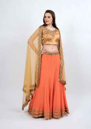 Orange and Golden Flared Party Wear Lehenga
