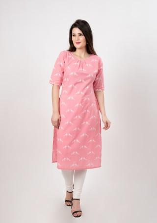 Pink and White Printed Cotton Straight Kurta