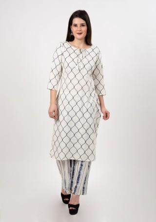 Off White and Blue Printed Cotton Slub Kurta Palazzo Set