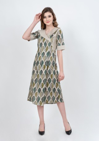 Off-White Multi-Colour Printed Indo-Western A-Line Dress