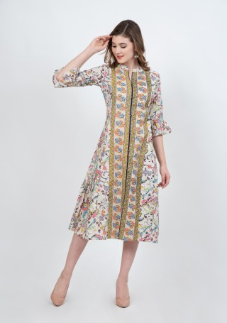 Off-White Handloom Cotton Multi Floral Printed Dress