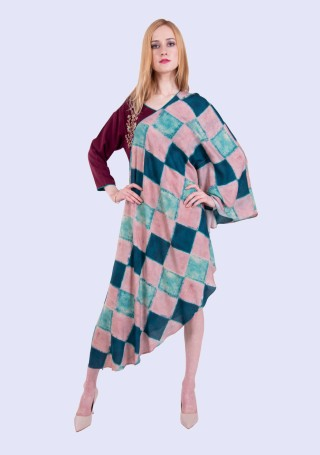 Multi-Colour Bias Cut Asymmetrical Printed Rayon Dress