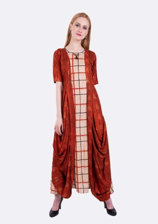 Beige and Rust A-line Cowl Drape Rayon Long Dress