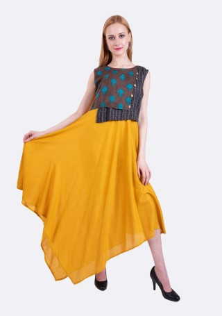 Sunglow Yellow Assymetrical Rayon Long Layered Dress
