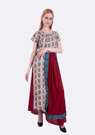 Beige and Wine Asymmetrical A-line Printed Rayon Long Dress