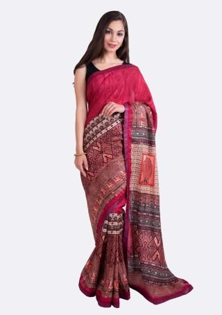 Ruby Pink Multi-Color Silk Digital Printed Traditional Saree